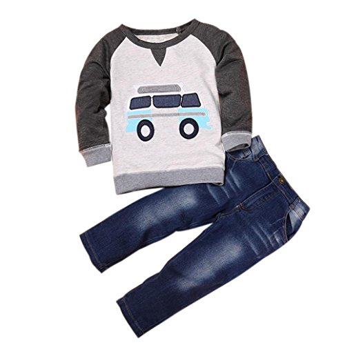 Outfits Sets Kind Janly 0-7 Jahre alte Jungen Car Print T-Shirt Bluse + Lange Jeans Hose (4-5 Jahre alte, Grau) (Jungen Jeans Größe 7 Langen)