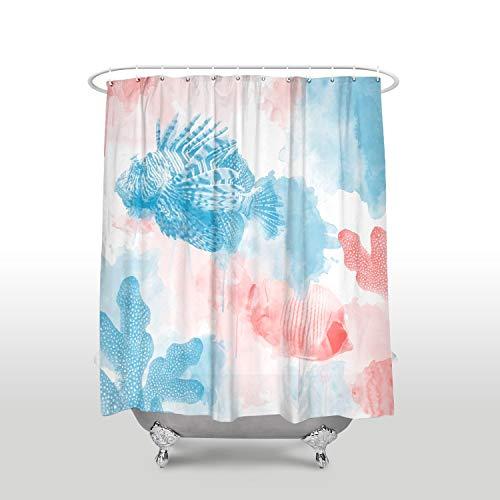 Renfengchui wasserdichte Aquarell Koralle Fisch Duschvorhänge Mit Haken Polyester Stoff Blau Rot Bad Vorhänge Hausdekoration 183 X 214 cm - Grau Mit Duschvorhang Rüschen