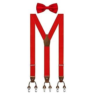 Aissy Herren Hosenträger mit Fliege Set 3 WAY TO WEAR Neue Version 3.5cm Y-Form Elastisch und Längenverstellbar Hosenträger für Herren und Damen 3 WAY Rot