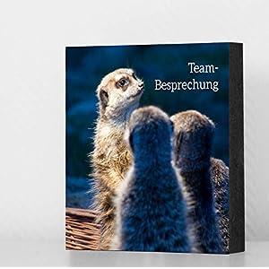 """Bild Erdmännchen -""""Teambesprechung"""" 14x14cm, MDF, Geschenk, Deko, Kollegen, Büro"""