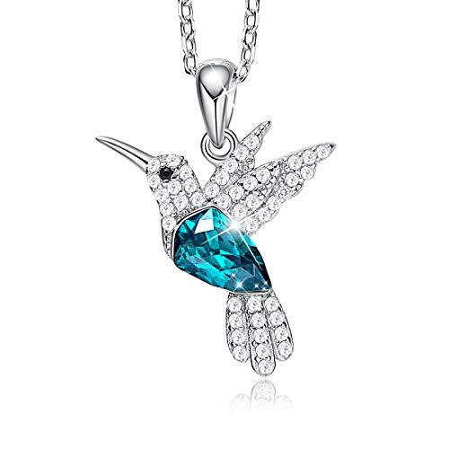 CDE Sterling Silber Halskette für Frau mit Geschenkbox Embellished with crystals from Swarovski Anhänger Kolibri Schmuck Geschenk für Mädchen und Damen