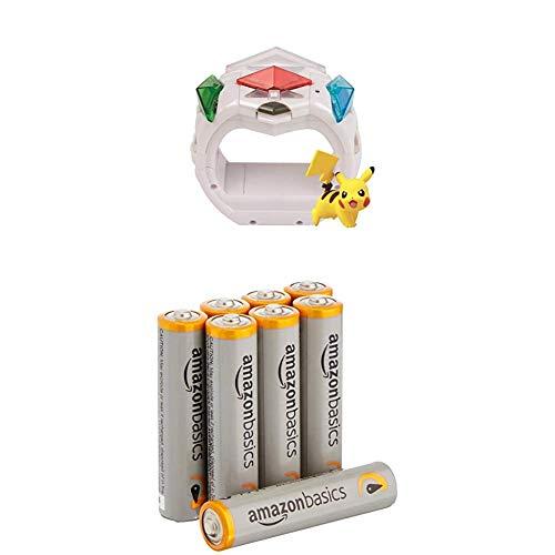 Pokemon T19202D - Z-Ring mit Pikachu Figur & 3 Z-Kristalle mit AmazonBasics Batterien