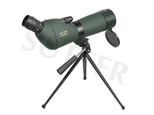 Spektiv 20-60x60 mit Schrägeinblick & Tasche, Fernrohr für Vogelbeobachtung, Sportschützen, Jagd - Ohne Premium-Stativ
