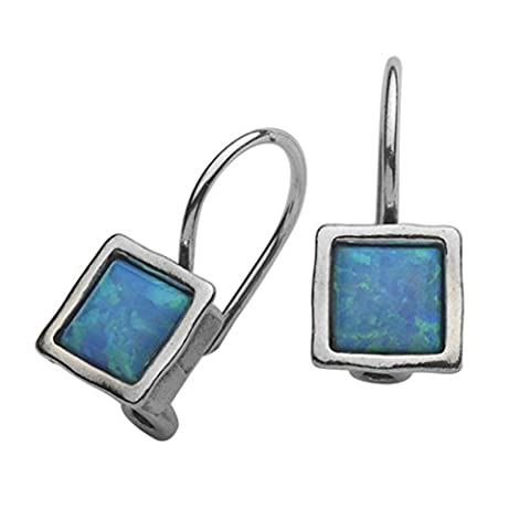 Female Shablool Silver Earrings 925 Sterling Silver Opal Square Blue