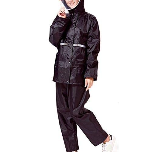 LAXF-Regenjacken Regen-Klage für Frauen wiederverwendbare Regenkleidung (Regen-Jacke und Regen-Hosen eingestellt) Erwachsene wasserdichtes regendichtes windundurchlässiges mit Kapuze arbeiten im Freien Motorrad-Golf-Fischen-wandernde Jagd-Gitter-Futter ( größe : M ) (Regen Jacke Frauen)
