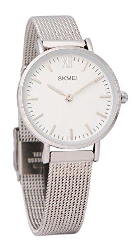 Baciami SKMEI Schlanke Armbanduhr mit Mesh-Band, Dünnes Silbernes Metall-Band, Quarzuhr Minimalistisch Klassisch Modern Elegant Silberuhr