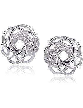 MATERIA Damen Ohrstecker Silber 925 Spirale Ø11mm - Kleine Ohrringe rund filigran mit Box #SO-266