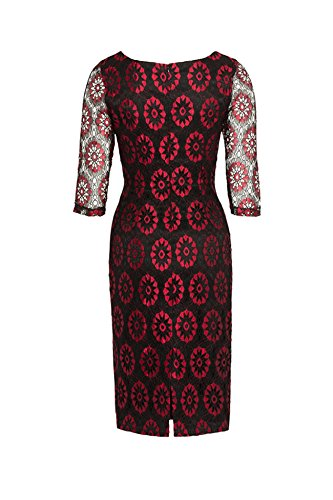 Voodoo Vixen Vintage FLORAL Lace Pin Up PENCIL Dress KLEID Rockabilly -