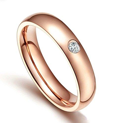 Edelstahlring Damen Ringe Rosegold Bandring Diamant Poliert Verlobungsring Größe 52 (16.6) - Adisaer (Kostümen Uruk Hai)