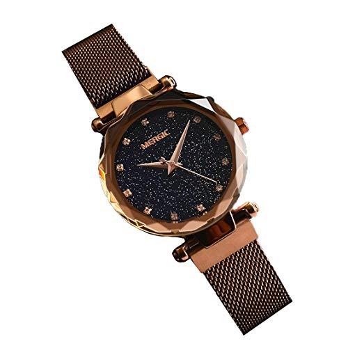 Malla De Hierro De Milán con Reloj De Estrella Reloj De Pulsera De Señoras De Diamantes De Imitación De Moda Simple A Prueba De Agua,Brass