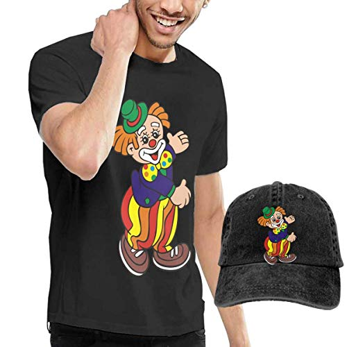 Herren Kurzarmshirt,T-Stücke,Funny Clowns Circus Clown Short Sleeve T-Shirts Black (with A Cap) ComfortSoft Man's T Shirts Graphic Funny Round Neck Tee Basketball Hats Combination (Graphic Sleeve Short T-shirt Basketball)