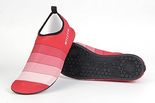 HYSENM Unisex Barfußschuhe Strandschuhe Schwimmschuhe Lycra leicht Streifen für Wassersport Yoga Hausschuhe Rot