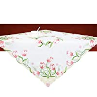 Simhomsen Embroidered Tulip Table Runners, Spring Floral Table Linens