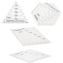 Sharplace 4pcs Plantilla Quilting Regla para Bricolaje Patchwork Formas Perfectas con Regla Forma Diferente