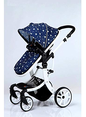 2018 EU Stroller Brand Baby Stroller 3 in 1 Baby Stroller Travel System  High Landscape Three-Dimensional Four Round Carts White Frame Pushchairs &