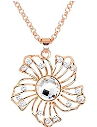 GirlZ! Gold Crystal Hollow Flower Pendant Necklace For Women