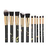 MAG5633 Set di pennelli per Trucchi in Marmo Set di Strumenti per Il Trucco 10 Pezzi Prodotti di Bellezza Neri