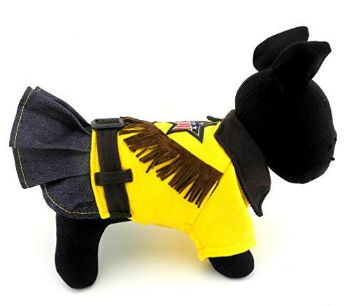 ranphy Haustier Kleidung für kleine Hunde Katzen Sweatshirt Pullover mit Denim Overalls Rock Puppy Jumpsuit Chihuahua Kleid Gelb (Pretty Girl Rock Kostüm)