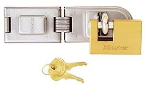Master Lock 606720EURD Moraillon à double charnière + cadenas en laiton