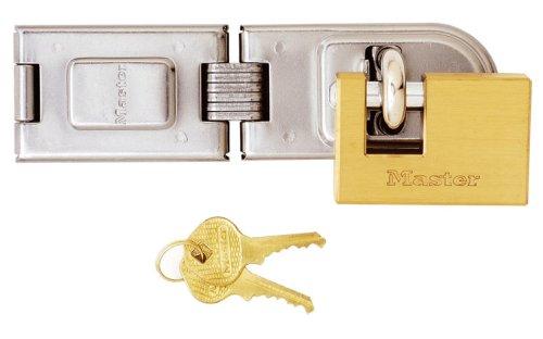 Master Lock 606720EURD - Juego de aldaba con candado de latón cuadrad