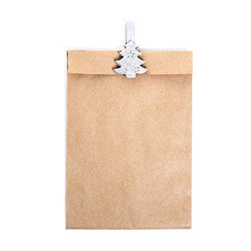 Braune Clip Geld-clip (8 kleine braune Papiertütchen Weihnachtstüten (10,5 x 15 cm) mit 8 silbernen Holzklammern