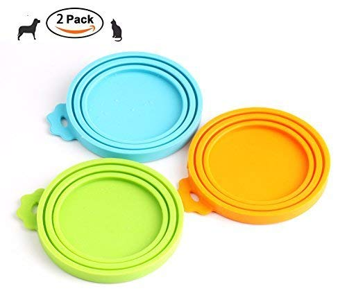 Comtim Silikon-Dosendeckel für Hunde- und Katzenfutter (Universalgröße, 1 passend für 3 Lebensmitteldosen), grün/orange