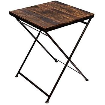 design klapptisch beistelltisch aus echtholz massives eisen gestell metall klappbar. Black Bedroom Furniture Sets. Home Design Ideas