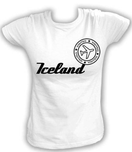 Artdiktat T-Shirt Iceland Visited Damen, Größe S, weiß
