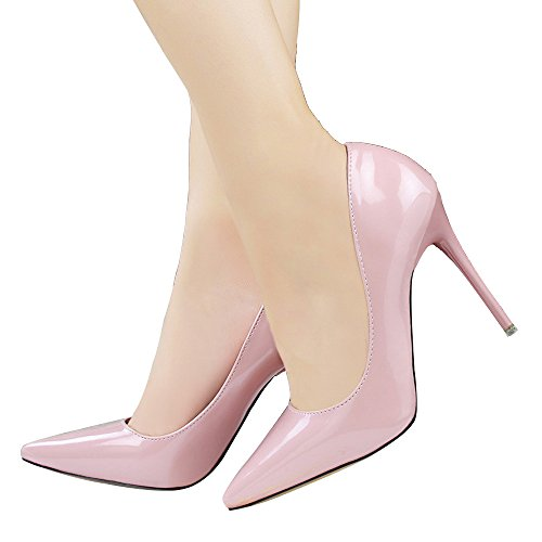 Guoar High Heels Damenschuhe Große Größe Spitze Zehen Lack Slip-on Stiletto Pumps Büro-Dame Party Hochzeit Pink