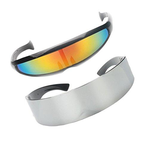 Sharplace Futuristische Sonnenbrille Brille 2er Set gespiegelt Objektiv Space Alien Robot Kostüm für Herren Damen