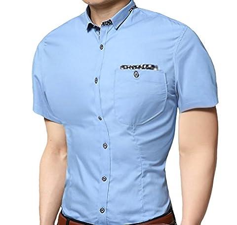 ScothenT-shirt pour hommes Slim Fit,Super moderne super qualité chemise slim fit non-fer/repassage facile hommes pour le mariage Business Leisure Casual manches courtes Pocket shirt Contraste