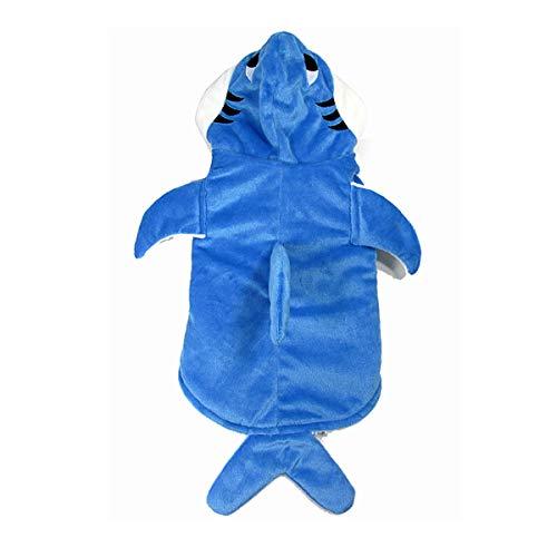 JXE Haifisch-Kostüm für Halloween, Weihnachten, Cosplay, für Hunde und Katzen, warm, mit Kapuze, Kapuzenpullover