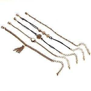 Canvivi Quaste Fußkette Ethnischen Gürtel Boho Weibliche Fünf Stück Fußkette