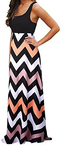 ASCHOEN Damen Sommerkleid am Meer Langkleid Casual Mehrfarbig Strandkleid Partykleid Kleid Abbildung 3