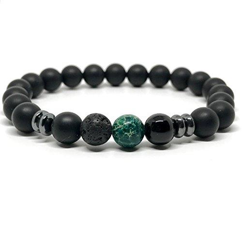 GOOD.designs Chakra Perlen-Armband aus Lava-Natursteinen, Weltkugel (Grün)