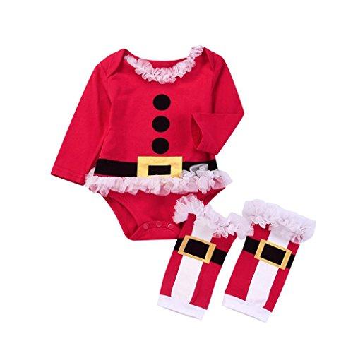 URSING Weihnachtskostüm Kleider Neugeborene Kleinkind Baby Mädchen Tutu Patchwork Strampler Rot übergang insgesamt Langarm Bodysuit + Super süße Bein Wärmer 2 Stück Outfits Set (Meerjungfrau Paar Kostüme)