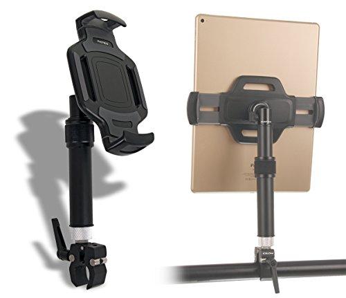 """PHOTECS Tablet-Halterung Pro V5, höhenverstellbar, für iPad Pro und andere Tablet-PC´s (von 6\"""" bis 14 Zoll) an Rudergerät, Heimtrainer, Ergometer etc. (V5-K1, Klemme Typ1)"""