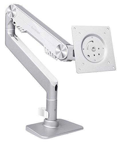 Monitorarm mit Gasfeder, Cucumbe Tischhalterung Monitor mit Gasdruckfedergelenk Monitorhalterung Schwenkbar Neigbar (Silber) (Armee-ingenieure)