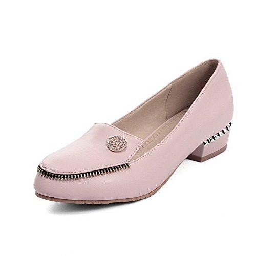 Femme Tire Cuir Bas Pu VogueZone009 Talon Légeres Fermeture Rond Rose Chaussures à Unie Couleur DOrteil 5Rw4qzd