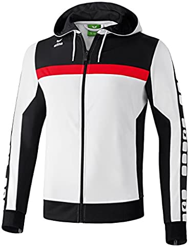 ERIMA Men's Classic 5-Cubes Training Jacket with Hood - White/Black/Red,