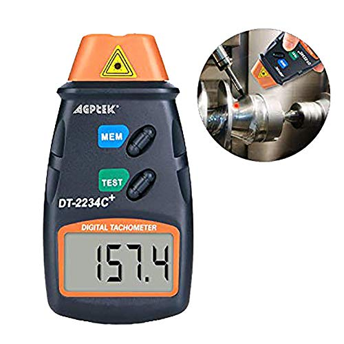 FITNATE Digitale Laser Foto Tachometer nicht Kontackt Geschwindigkeitsmesser | 2.5-99,999 RPM | Batterien | 3 stk. Reflexfolie, Revisionsanleitung