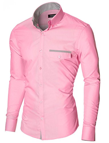 MODERNO Herren Hemd Slim Fit Freizeithemd Langarm von (MOD1413LS) Rosa EU L (Herren-rosa Karierte Hemd)