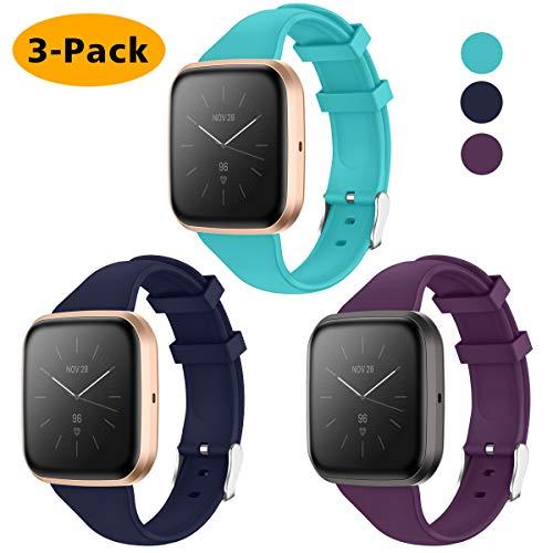 KIMILAR Armband Kompatibel mit Fitbit Versa/Versa 2 /Versa Lite/SE Armbänder Silikon, Schlank Ersatzband Uhrenarmband für Fitbit Versa Special Edition Smartwatch -Pflaume/Knickente/Marine, S