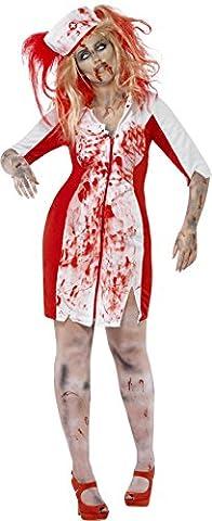 Smiffys, Damen Zombie-Krankenschwester Kostüm, Kleid mit Kopfbedeckung, Größe: L, 44340 (Mad Krankenschwester Halloween Kostüm)