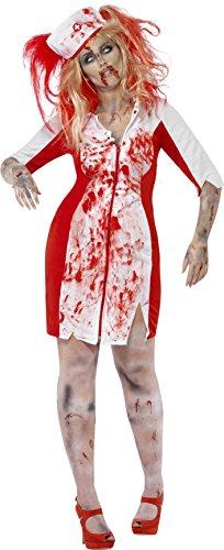 Kostüme Zombie Krankenschwester (Smiffys, Damen Zombie-Krankenschwester Kostüm, Kleid mit Kopfbedeckung,  Größe: X1,)