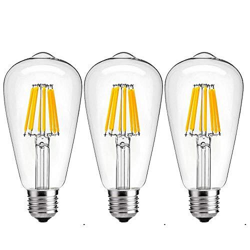 rne E27 8W Dimmbar Kein Flackern AC 220-265V Kaltweiß 6000K Glühfaden Lampe Schraube Sockel Edison vintage antik Retrofit Glühbirne (3-Stück, Dimmbar, Kein Flimmern) ()