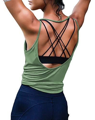 ZJCTUO Damen Sport Tops Yoga Rückenfreier Träger Tanktop Fitness Workout Training Locker Shirt Dry Gym Oberteile