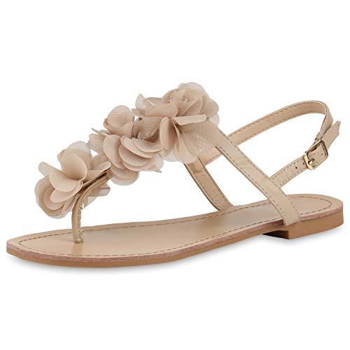 SCARPE VITA Modische Damen Sandalen Blumen Zehentrenner Sommer Schuhe 164120 Nude Blumen 36 (Damen Blumen Sandalen)