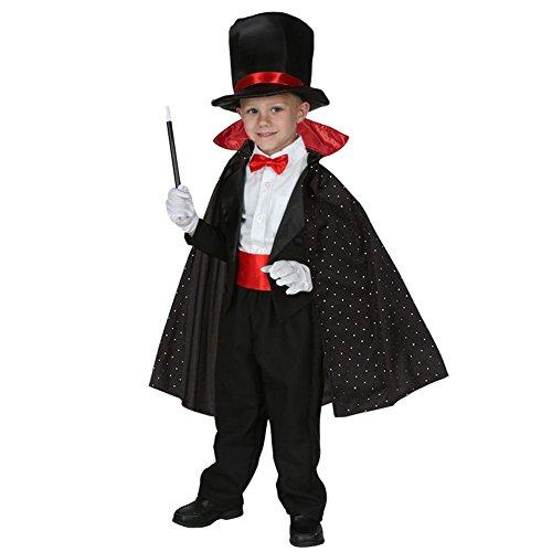 Biback Kinder Kostüm Anzug Magier Rolle Spielen Kleidung Party Halloween Einschließlich Hut Cape Wand ()