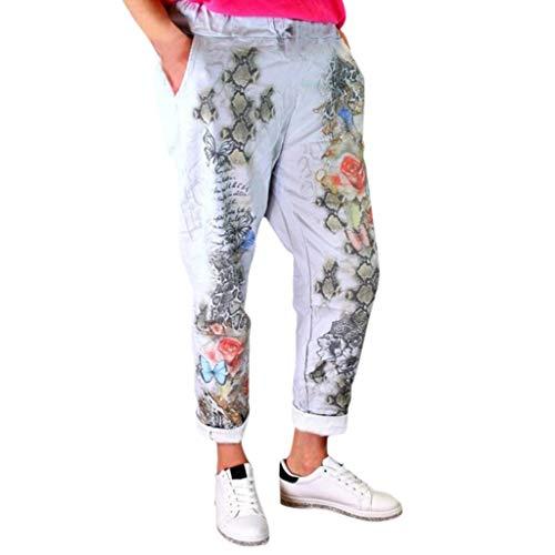 WOZOW Freizeithose Stoffhose Damen Solid Einfarbig Schmetterling Schlange Print Muster Bedrucktes Druck Lang Long Casual Lose High Waist Straight Leg Mode Cool Trousers (4XL,Hellgrau) -